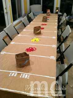 football-field table cover made from recycled paper, paint and Stampin' Up! stamps