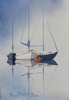 "Sailboat Sketch III by Poppy Balser Watercolor ~ 7"" x 5"""