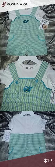 Baby Essentials Boys One Piece Outfit Light green turquoiseand white with Embroidered whale. Super cute! Baby Essentials Other