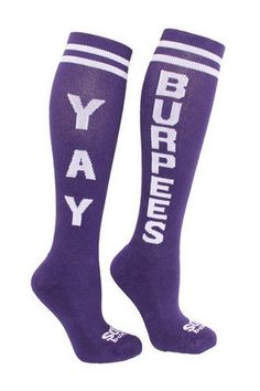 If you workout, you need these Yay Burpees socks. Hysterical! http://thestir.cafemom.com/healthy_living/165028/gifts_for_the_crossfit_athlete?utm_medium=sm&utm_source=pinterest&utm_content=thestir