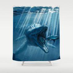 Mosasaurus Jurassic World Shower Curtain
