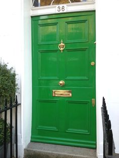 Who doesn't love a brightly colored front door? I think a trip to Notting Hill is in order! Bright Front Doors, Front Door Colors, Paint Color Combos, Paint Colors, Behind The Green Door, Exterior Front Doors, Front Entry, Front Porch, Porch Windows