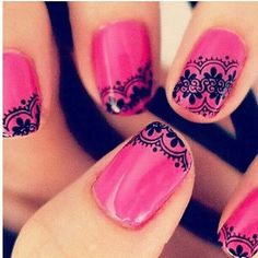 Pink and black lace nails