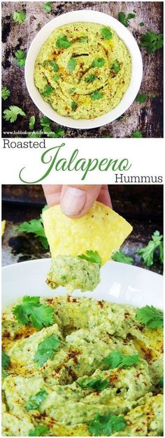 Roasted Jalapeño Hummus - Creamy with that jalapeño kick, this hummus is pefect as a dip with pita chips and veggies, in the place of mayo on sandwiches, or a guacamole subsitute in your tacos. From www.bobbiskozykitchen.com #SundaySupper