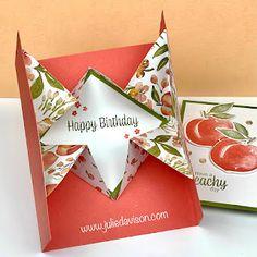 Pop Up Karten, Stampin Up Karten, Fancy Fold Cards, Folded Cards, Pop Up Cards, Cool Cards, Card Making Tutorials, Making Ideas, Youre A Peach