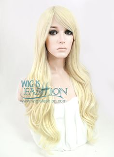 "27"" Long Curly Light Blonde Fashion Synthetic Hair Wig SS07"