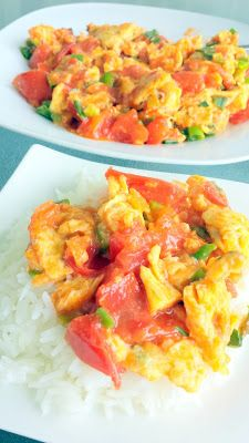 Easy comfort food of my Chinese Tomato and Eggs recipe, enjoy with rice and is only 20 minutes from prep start to finish!