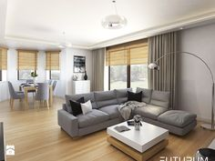 Fajna harmonia w kolorze podłogi + rolet Living Room Grey, Living Room Decor, Ceiling Curtains, Loft, Room Colors, Living Room Designs, Modern Furniture, Decoration, New Homes