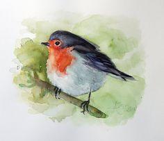 Red Robin peinture, oiseaux aquarelle originale, Roodborstje - Don birdlovers, oiseau chanteur, cottage, cadeau chic de la faune