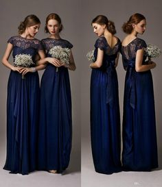 Navy blue Long Chiffon lace pregnant Sheer Crew Neck  Cap Sleeves A Line Floor Length  Bridesmaid Dresses Formal Prom  Evening Dresses
