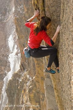 Steph Davis...  the Queen of Free Solo climbing  (no     ropes)   ..She also base jumps,  wingsuit jumps, and about every other adrenalin based activity that would most likely get your life insurance cancelled.