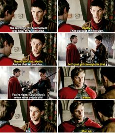 Merlin not being very helpful to Arthur at the tournament xD