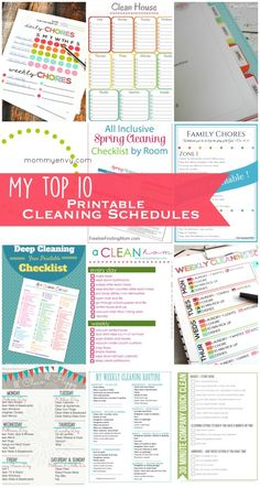 Top 10 Spring Cleaning Printable Schedules  to keep your cleaning and home organized.