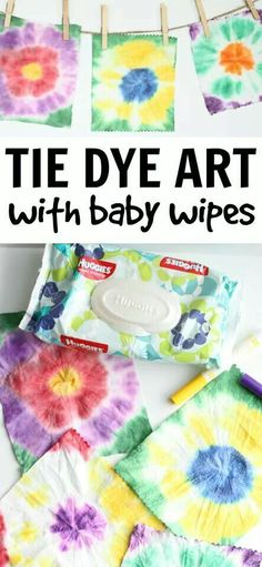 Tie Dye Art with Baby Wipes Easy Tie Dye Art with Baby Wipes: Such a fun way to explore tie dye and you can make a super simple bunting!Easy Tie Dye Art with Baby Wipes: Such a fun way to explore tie dye and you can make a super simple bunting! Daycare Crafts, Fun Crafts, Baby Crafts, Crafts With Kids, Toddler Arts And Crafts, Pre School Crafts, Older Kids Crafts, Colorful Crafts, Kids Daycare