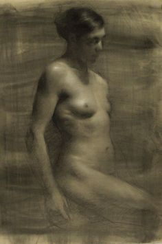 ">Yael, 2010, charcoal on toned paper heightened with white, 24 x 18"" Juliette Aristides"