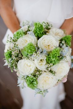 White bouquet with Bells of Ireland