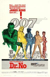 "Dr. No (United Artists, 1962). One Sheet (27"" X 41"") White Smoke Style, Mitchell Hooks Artwork"