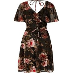 River Island Black floral devore tea dress ($100) ❤ liked on Polyvore featuring dresses, black, skater dresses, women, short sleeve skater dress, ruffle dress, skater dress, tea party dresses and v-neck skater dresses