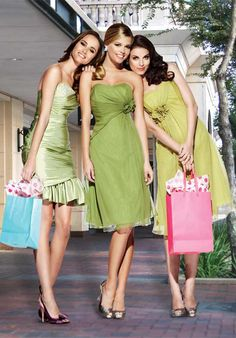 Light Green Strapless Empire Wasit Flower Chiffon Satin Knee-Length Bridesmaid Dress