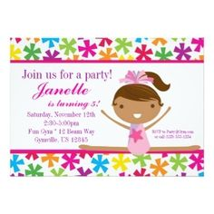 88 best girls birthday party invitations images on pinterest cute girls gymnastic birthday party invitations gymnastics tumble birthday filmwisefo