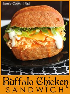 Shredded Buffalo Chicken Sandwich from Jamie Cooks It Up