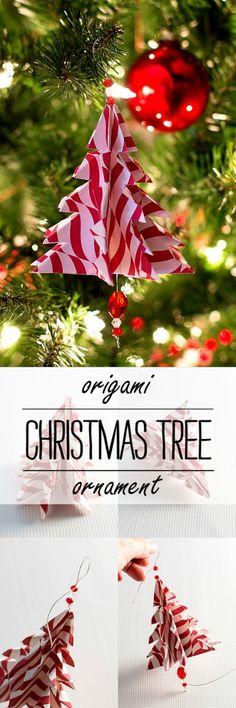 Handmade Origami Christmas tree ornament - Christmas Craft Ideas
