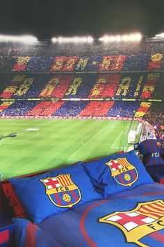 Go bold or go home. This football themed bedroom captures the excitement and thrill of a match night at Barcelona Nou Camp. We love the matching bedding too!