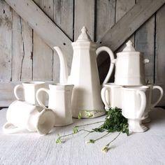 Vintage Stoneware Ironstone Tea Pot Set Coffee Pot- French Country Shabby Chic Farmhouse