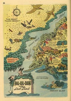 Pal-ul-don The Lost Land Map from Tarzan the Terrible by Edgar Rice Burroughs