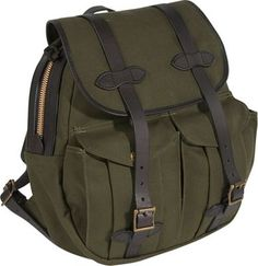 Filson Rucksack Otter Green - Filson School & Day Hiking Backpacks (703060128058) Rucksack Otter Green. Our Rucksack is as rugged and functional as it is handsome.  It features a large top opening for easy packing, two large capacity expandable front pockets and an open back pocket, a two-way solid brass zipper with large leather pulls, a Bridle leather carrying handle and adjustable shoulder straps.  Made in USA.