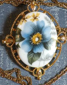 SALE Vintage Pendant and Lapel Pin Blue by RosePetalResources, $14.00