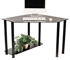 RTA Home And Office CT 013B Black Tempered Glass And Aluminum Corner  Computer Desk