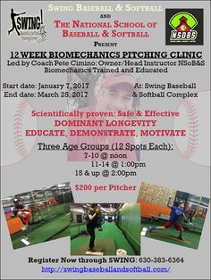 12 Week Pitching Clinic Led by Coach Pete of NSoB&S in conjunction with Swing Baseball & Softball Complex Starts Jan. 7th, 2017