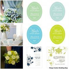 wedding color palettes featuring Pantone's Bright Chartreuse. Click image for details.