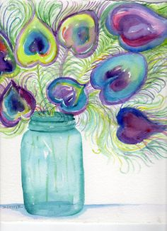 Blue, Green and Purple Peacock feathers in Aqua Blue Ball aka Mason Jar watercolor painting  by:-sharonfosterart