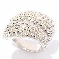 Marcasite by Dallas Prince Sterling Silver Chrome Marcasite Bypass Ring ShopNBC.com