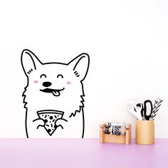 Sneakers the Corgi Removable Pizza Wall Decal