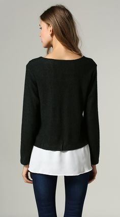 black and white long sweater #minimal lalalilo.com