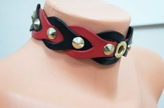 Spike Collar Black Red  Leather bdsm collar  by SpunkyOnArt