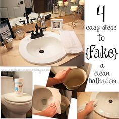 4 easy steps to {fake} a clean bathroom