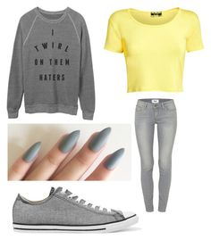 """'TWIRL ON THEM'"" by leah3000 ❤ liked on Polyvore featuring Pilot, Paige Denim and Converse"