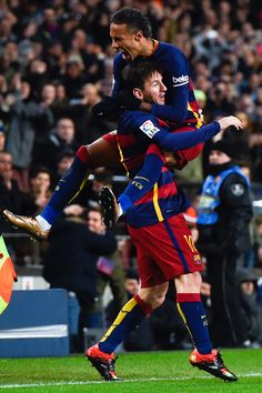 Lionel Messi of FC Barcelona celebrates with his teammate Neymar of FC Barcelona after scoring his team's second goal during the Copa del Rey Round of 16 first leg match between FC Barcelona and RCD Espanyol at Camp Nou on January 6, 2016 in Barcelona, Catalonia.