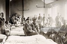 News Photo : Wounded British soldiers and their nurses in a...