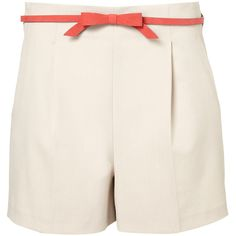 Bow Belted Shorts (840 ZAR) ❤ liked on Polyvore featuring shorts, bottoms, pants, short, belted shorts, short shorts, bow shorts and flat front shorts