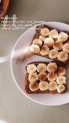 Peanut butter and banana toast - Lunch Snacks Think Food, I Love Food, Good Food, Yummy Food, Tasty, Healthy Drinks, Healthy Recipes, Diet Recipes, Dinner Healthy