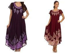 Batik dress features soft cotton fabric, sheer cap sleeves, relaxed fit and embroidered design in beautiful colors. Lightweight cotton fabric and relaxed fit makes this dress perfect for casual wear o