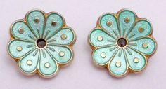 Vtg David Andersen Norway Norwegian Sterling Silver Enamel Flower Earrings 21319 #DavidAndersen