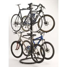 Free Standing Bike Rack holds 4 bikes and is made for easy access to get bikes on and off.