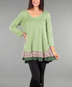 Another great find on #zulily! Green Lace V-Neck Shift Tunic - Plus #zulilyfinds