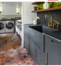 Cabinet| dark gray cabinets, almost black countertop w/gold accents